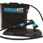 RinseKit is like having a garden hose at the beach, trailhead or camp. No pumping or batteries, fills in 20 seconds, storing water pressure from a household spigot. Portable cleanup for wetsuits, surfboards, bikes, kids, pets - anything adventure gets dirty. Lightweight, durable and easy to use. $90 RinseKit.com